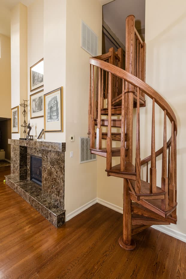 All wood Spiral Staircase living room