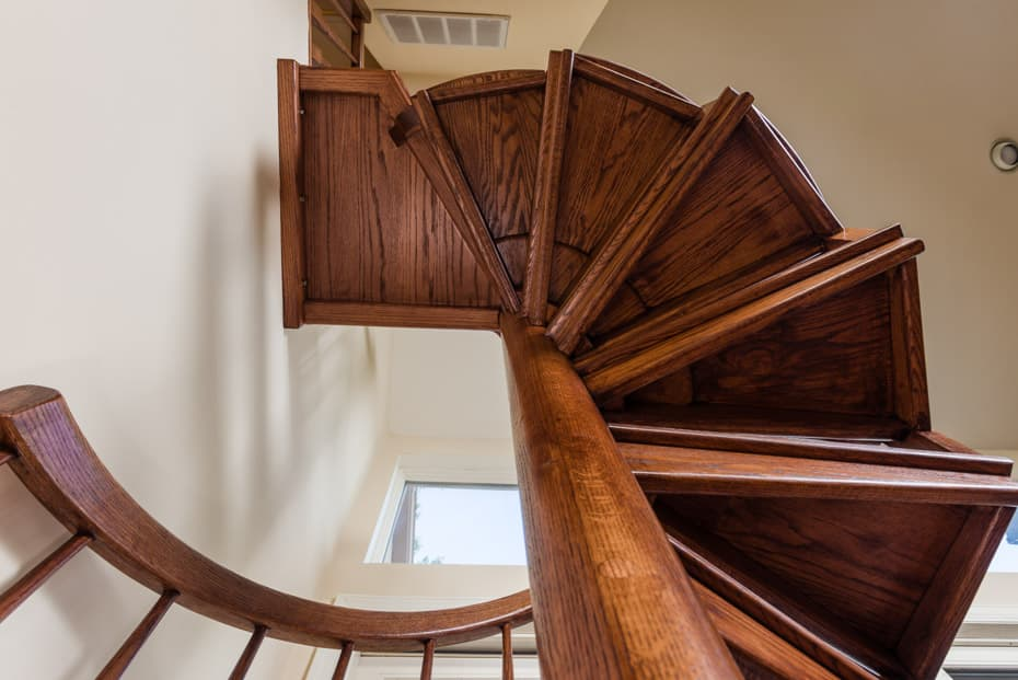 All wood Spiral Staircase traditional home