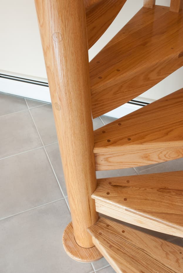 All wood Spiral Staircase center column zoom
