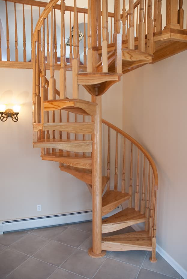 All wood Spiral Staircase long curved treads