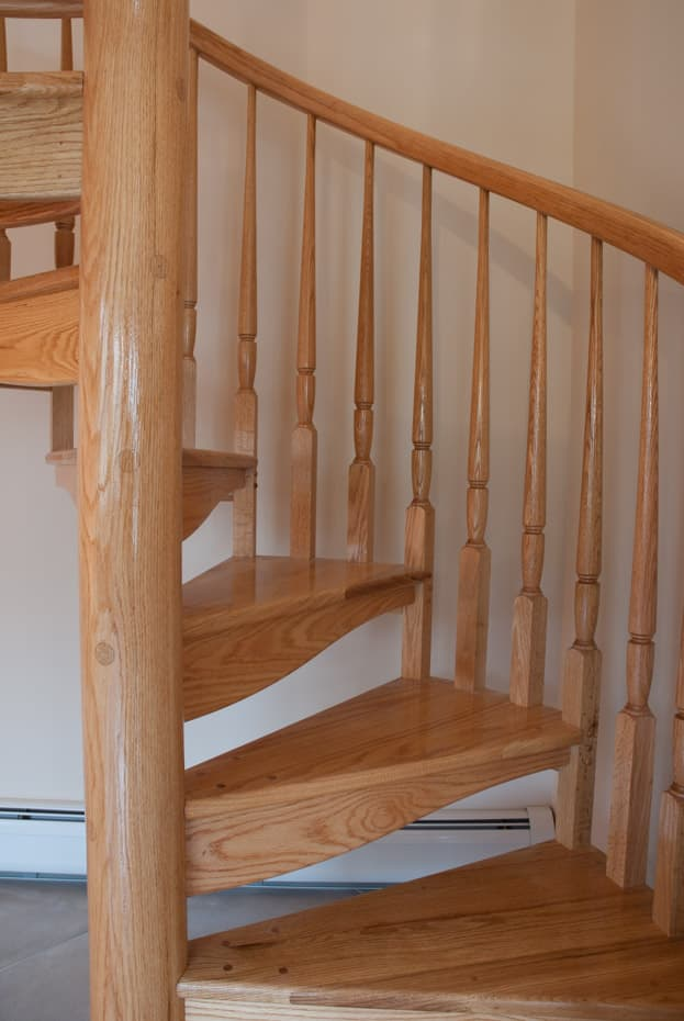 All wood Spiral Staircase two center balusters