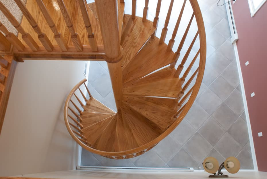All wood Spiral Staircase winding