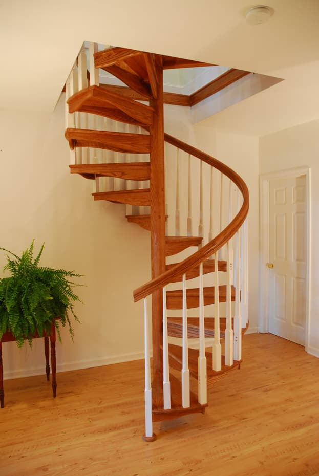 All wood Spiral Staircase 4ft diameter white balusters