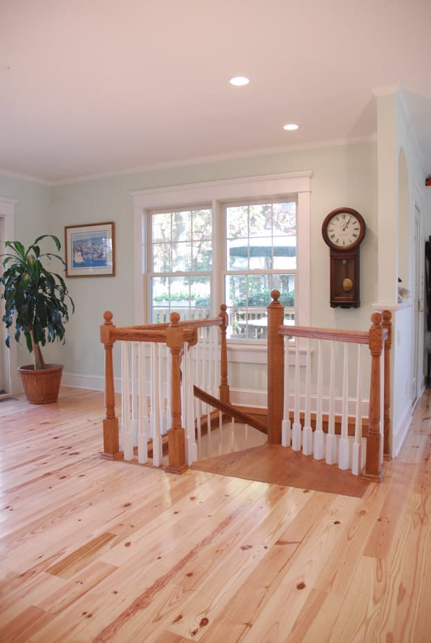 All wood Spiral Staircase square enclosure rail
