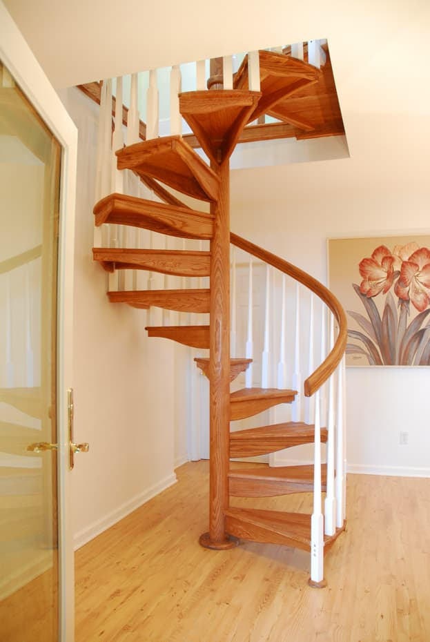 All wood Spiral Staircase white balusters