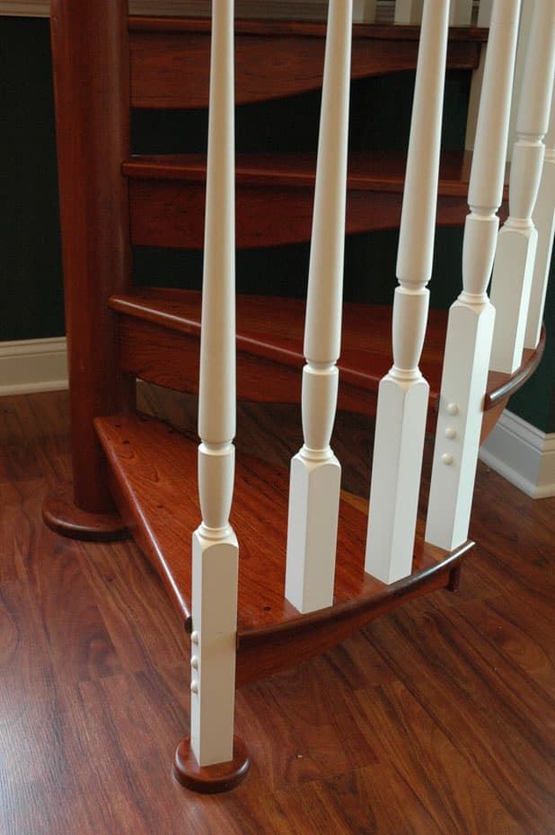 All wood Spiral Staircase center balusters