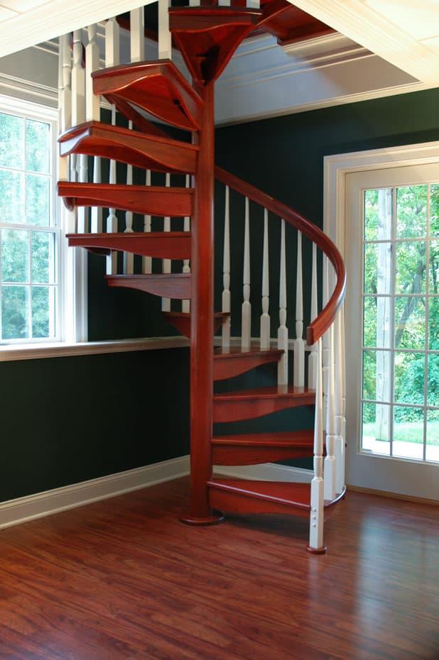 All wood Spiral Staircase hardwood floors