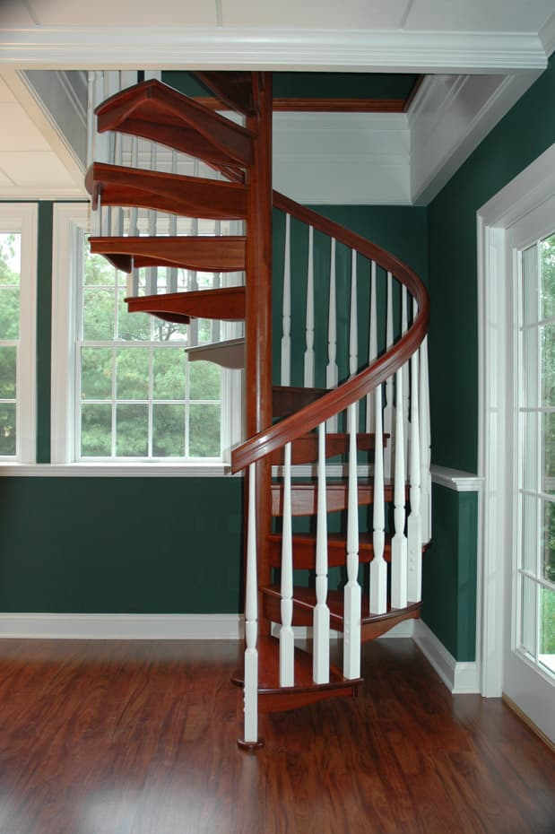 All wood Spiral Staircase home library