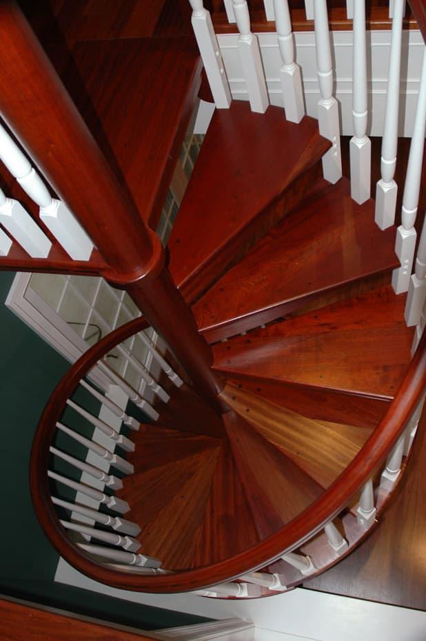 All wood Spiral Staircase mahogany finish