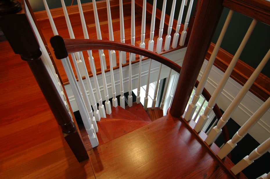 All wood Spiral Staircase platform entry point