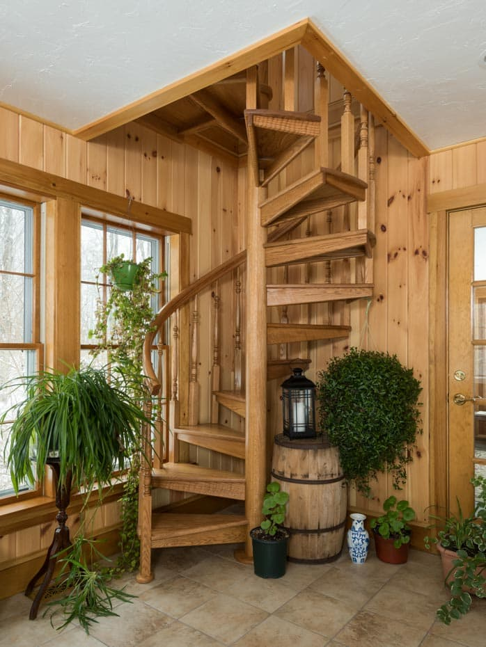 All wood Spiral Staircase code compliant