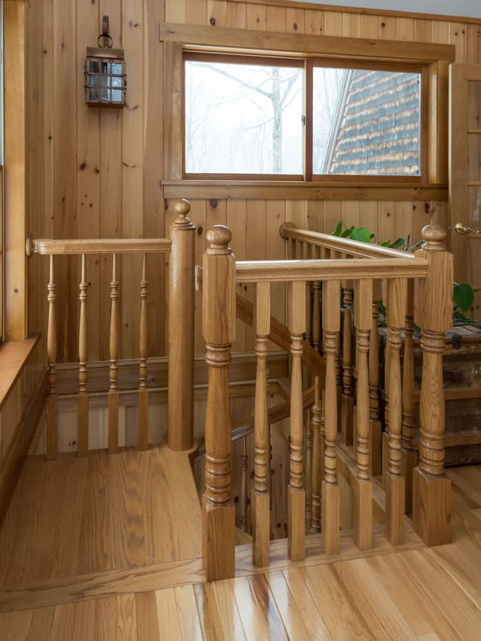 All wood Spiral Staircase enclosure rail