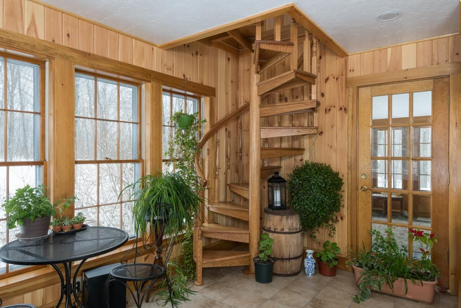 All wood Spiral Staircase sunroom