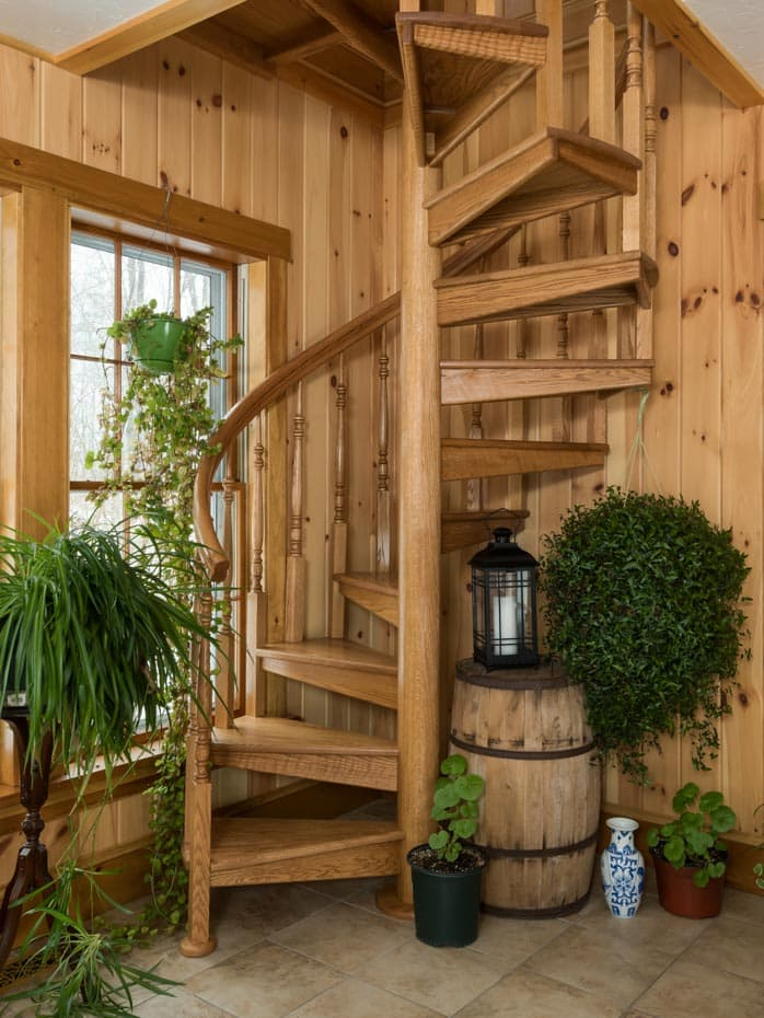 All wood Spiral Staircase zoom view