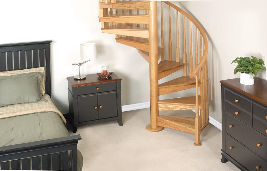 All wood Spiral Staircase bedroom loft access