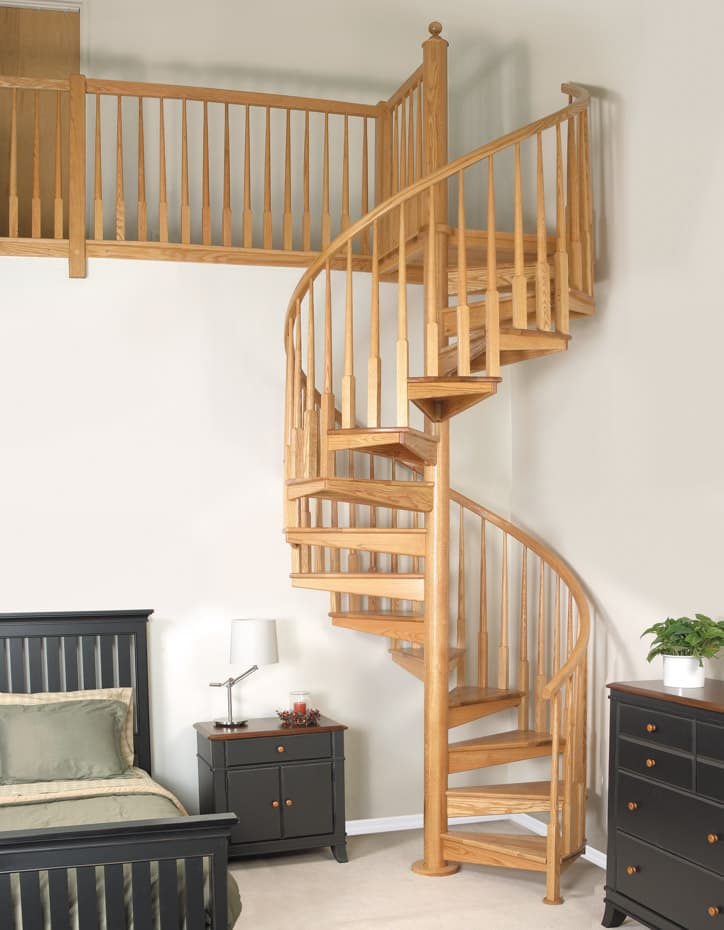 All wood Spiral Staircase loft bedroom