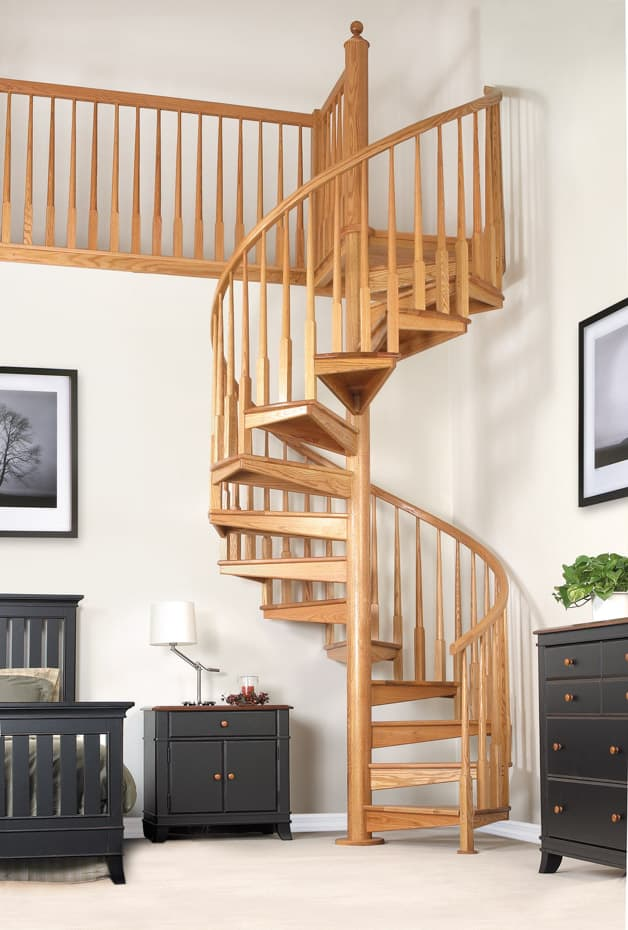 All wood Spiral Staircase modern bedroom