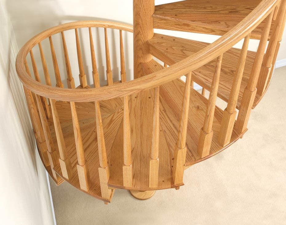 All wood Spiral Staircase pine balusters