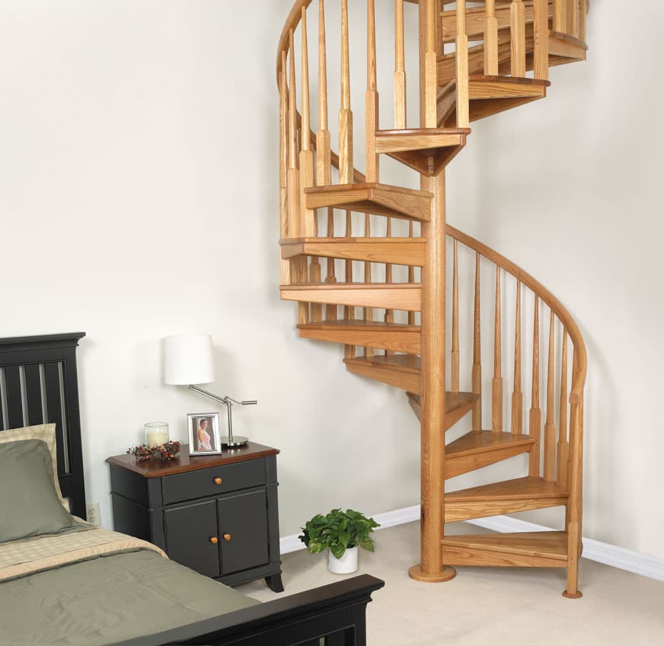 All wood Spiral Staircase sturdy code compliant bedroom