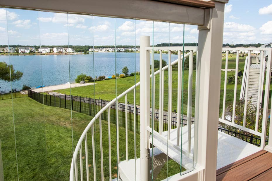 Aluminum Deck Spiral Staircase Lake Front