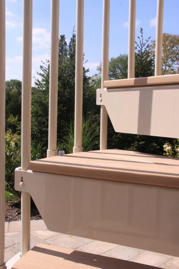 Aluminum Deck Spiral Staircase Code Rise Closeup