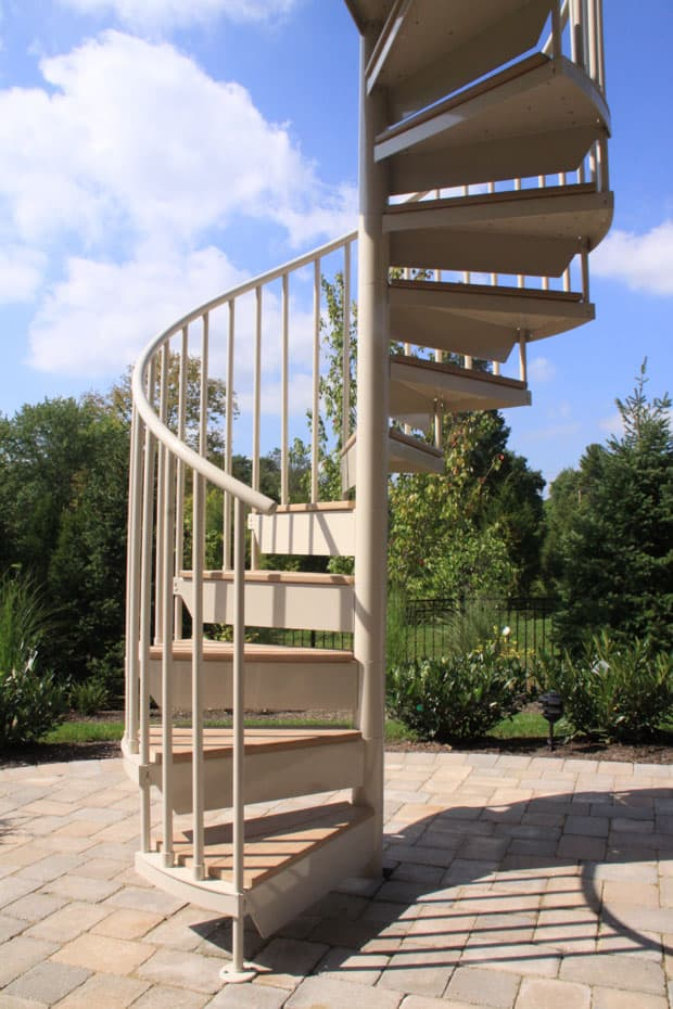 Aluminum Deck Spiral Staircase Sunny day
