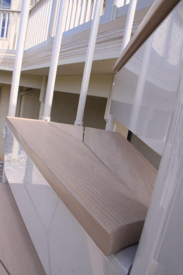 Aluminum Deck Spiral Staircase Wood Tread Cover Closeup