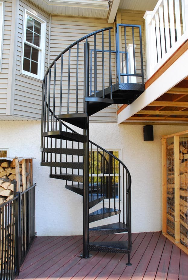 Aluminum Deck Spiral Staircase Black Powder Coated