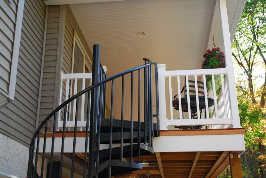 Aluminum Deck Spiral Staircase Tube Railing
