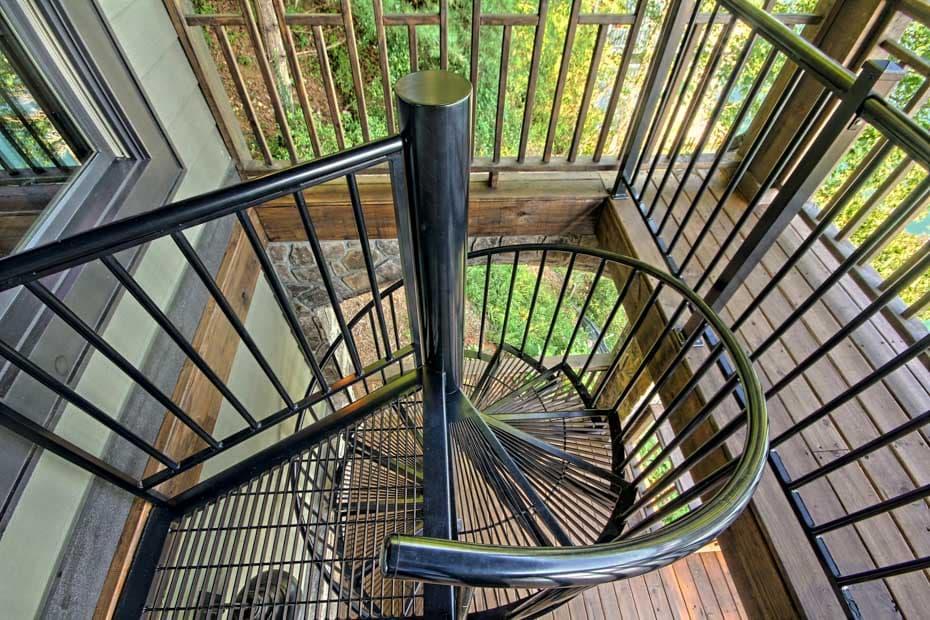 Aluminum Deck Spiral Staircase Black Stair