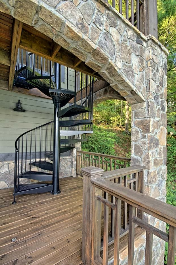 Aluminum Deck Spiral Staircase Rustic Setting