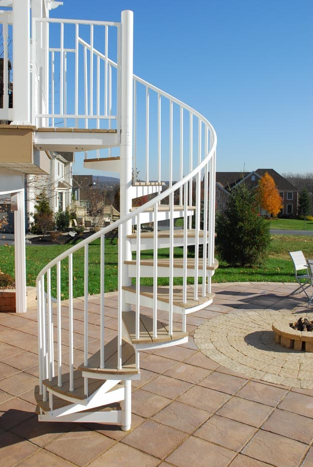 Aluminum Deck Spiral Staircase Outdoor Fire Place