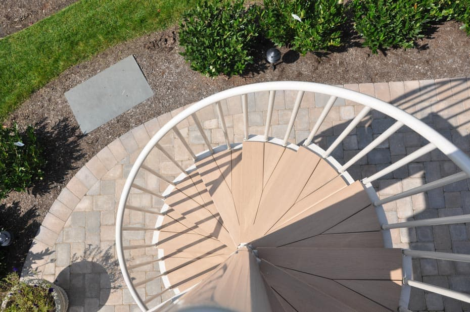 Aluminum Deck Spiral Staircase Top View