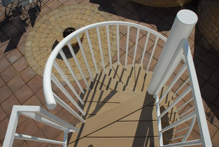 Aluminum Deck Spiral Staircase Wooden Treads Downward Shot