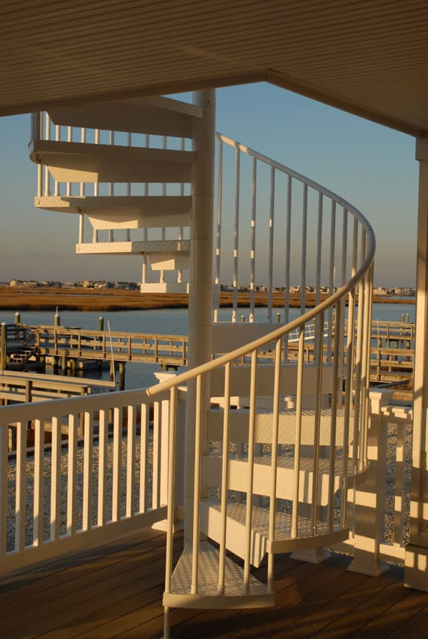 Aluminum Deck Spiral Staircase Lake Front View