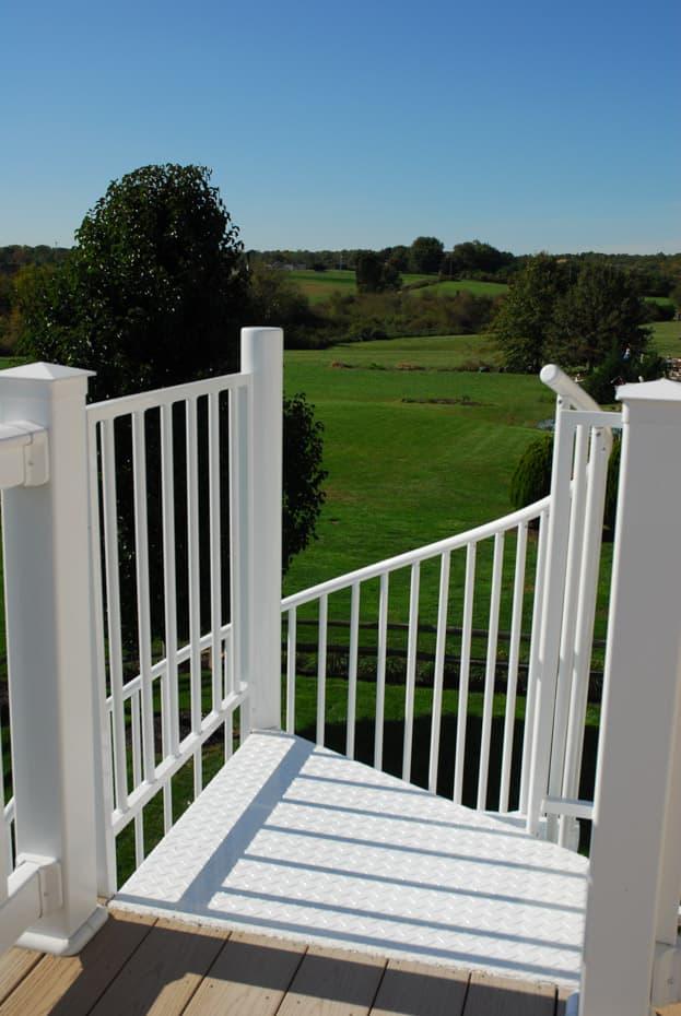 Aluminum Deck Spiral Staircase Wedge Platform