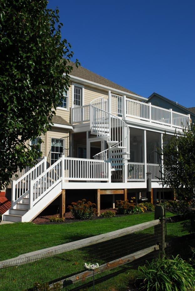 Aluminum Deck Spiral Staircase White Porch Stair