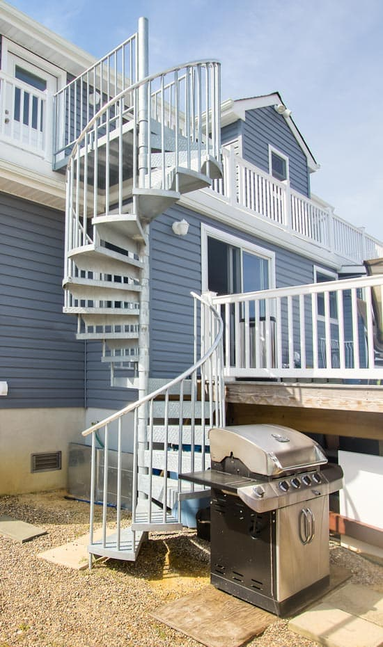 Double Stack Spiral Staircase in backyard