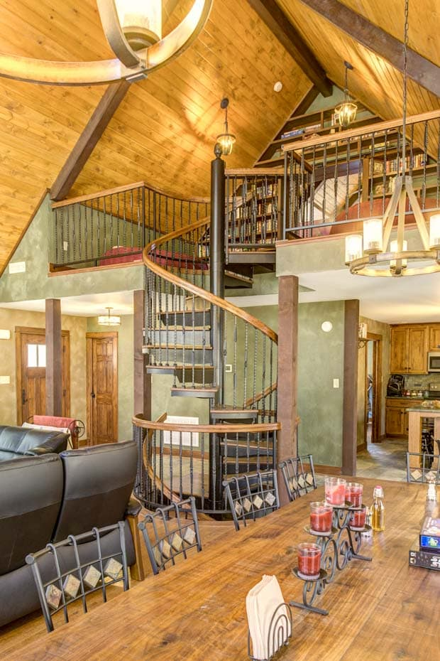 Double Stack Spiral Staircase in timberframe home