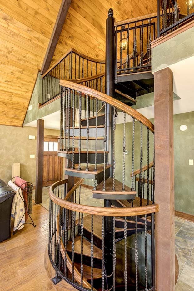 Double Stack Spiral Staircase with ornate finishes