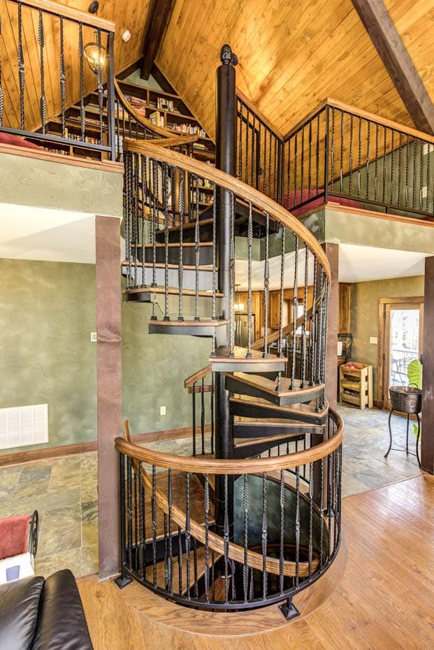 Double Stack Spiral Staircase with wood enclosure rail