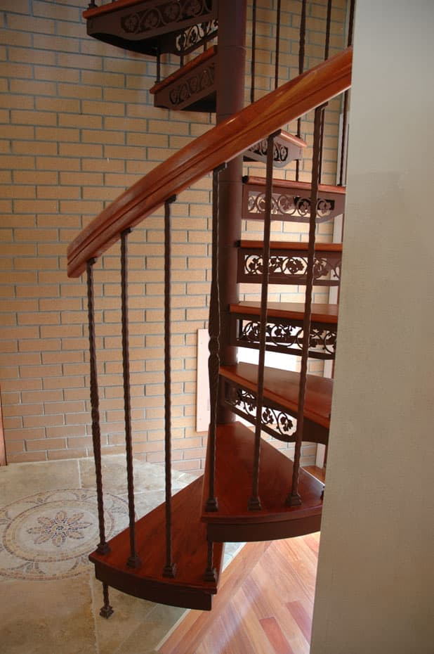 Forged Iron Spiral Staircase with standard baluster tips