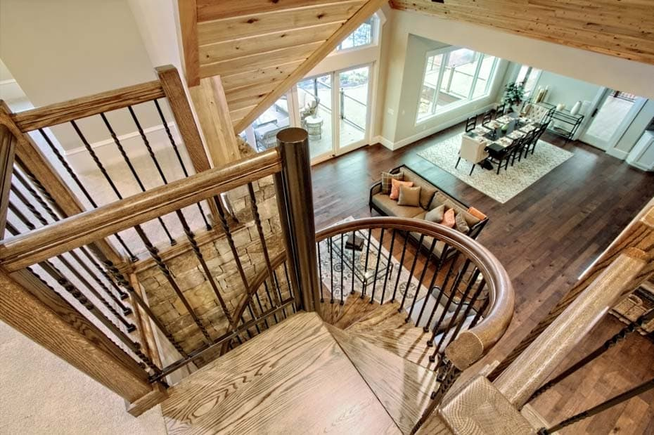 Forged Iron Spiral Staircase in rustic home