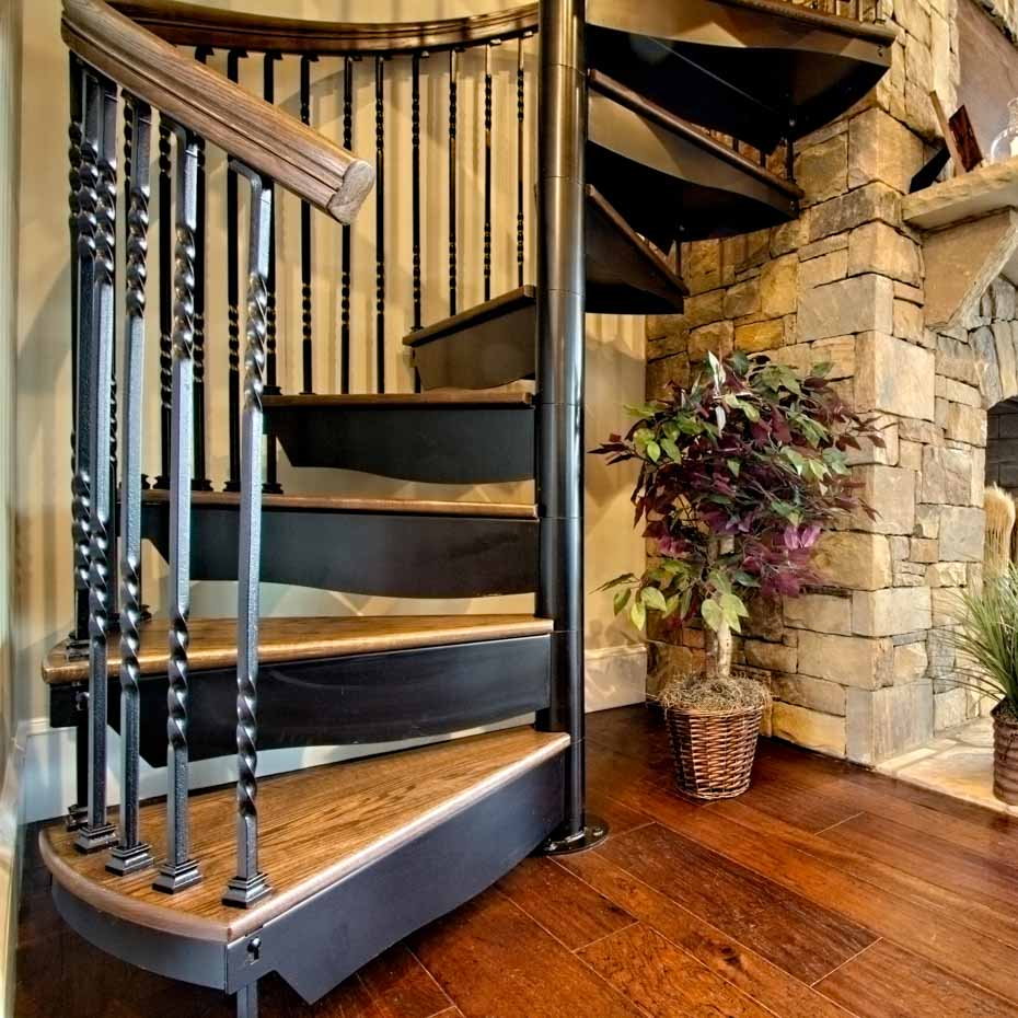 Forged Iron Spiral Staircase with standard code risers