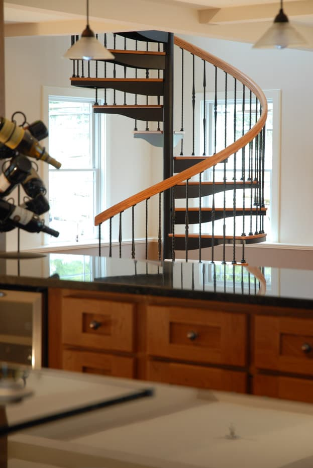 Forged Iron Spiral Staircase in a kitchen