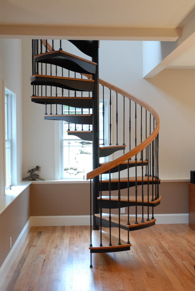 Forged Iron Spiral Staircase with wrought iron balusters
