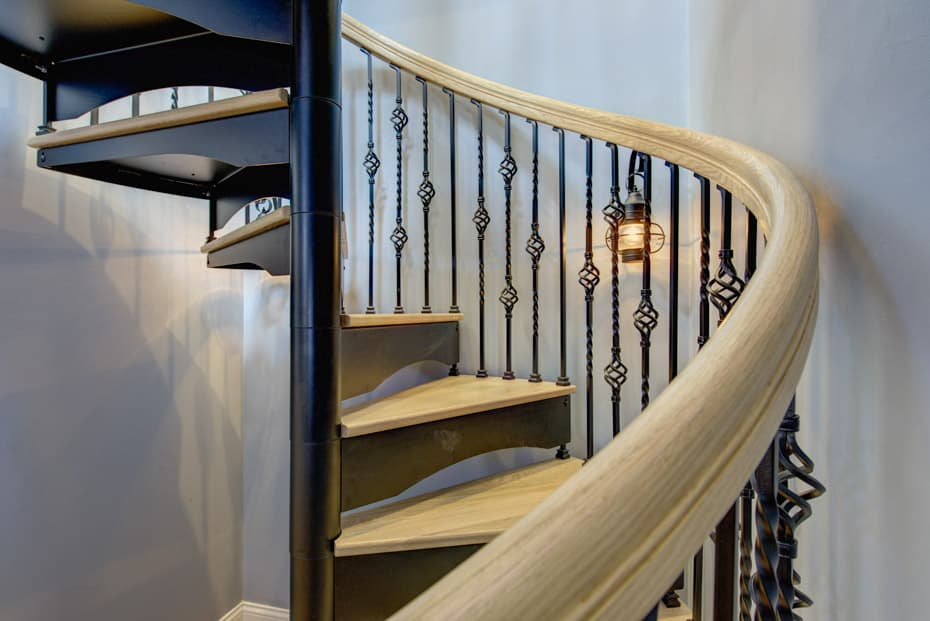 Forged Iron Spiral Staircase grooved handrail