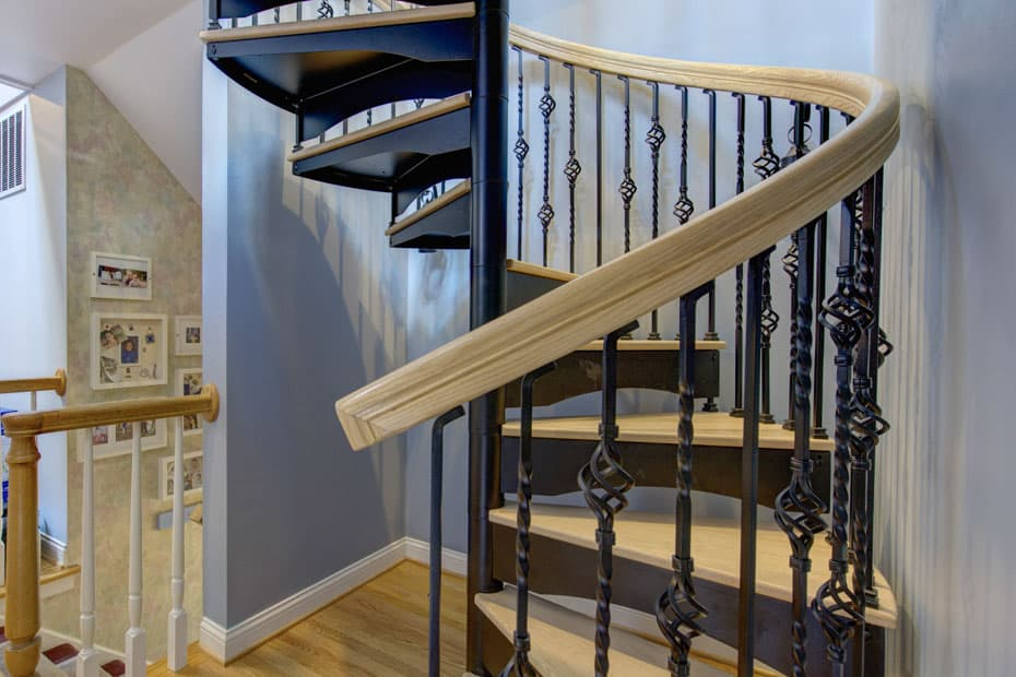 Forged Iron Spiral Staircase smooth continuous sleeves
