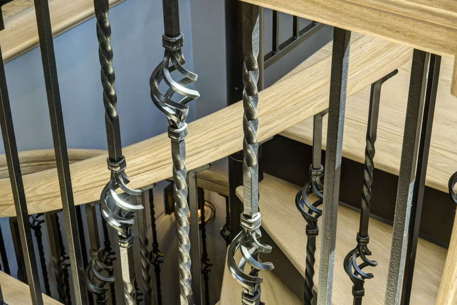 Forged Iron Spiral Staircase with bronzed balusters