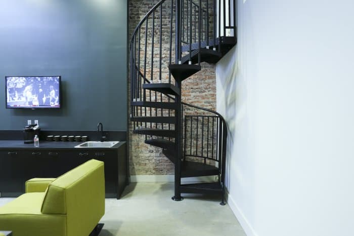 industrial mezzanine loft stair design
